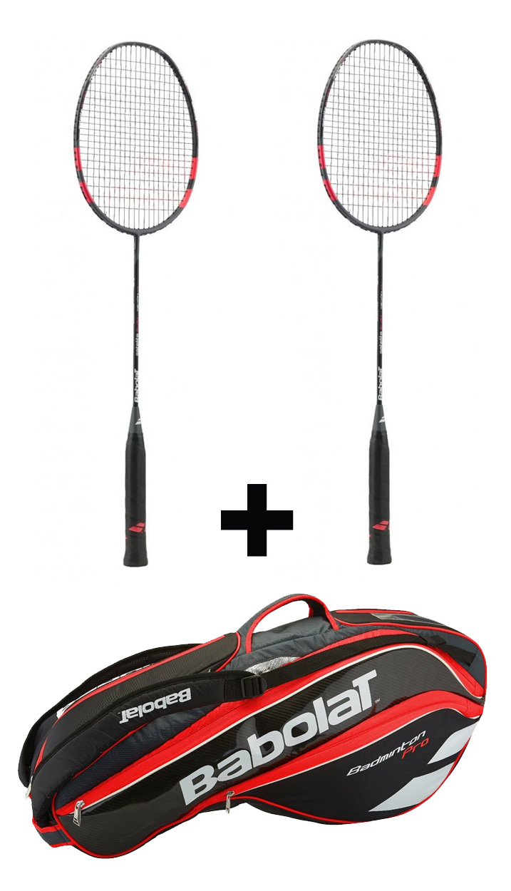 2ks Babolat Satelite 6.5 Blast + Babolat Badminton Pro Line Racket Holder X8