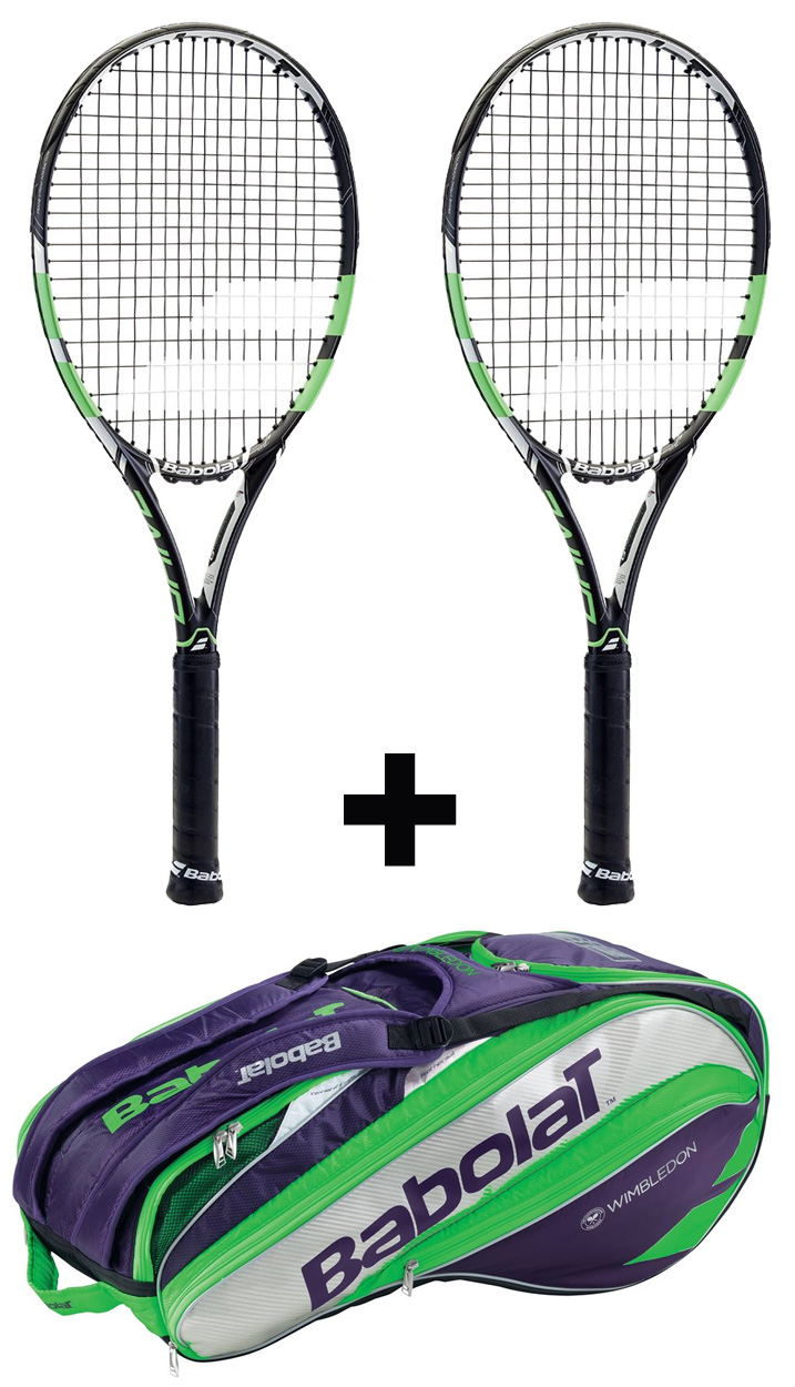 2ks Babolat Pure Drive Wimbledon + Babolat Pure Strike Racket Holder X12 G2