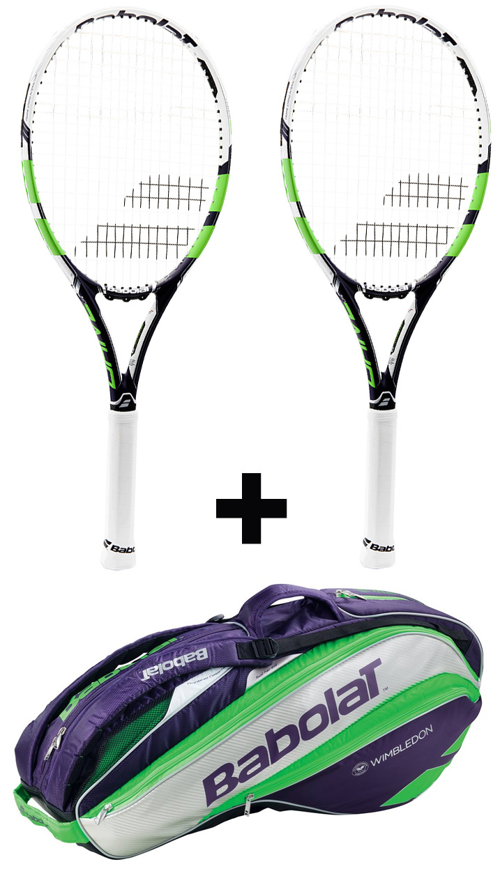 2ks Babolat Pure Drive Lite Wimbledon + Babolat Pure Strike Racket Holder X6 G1