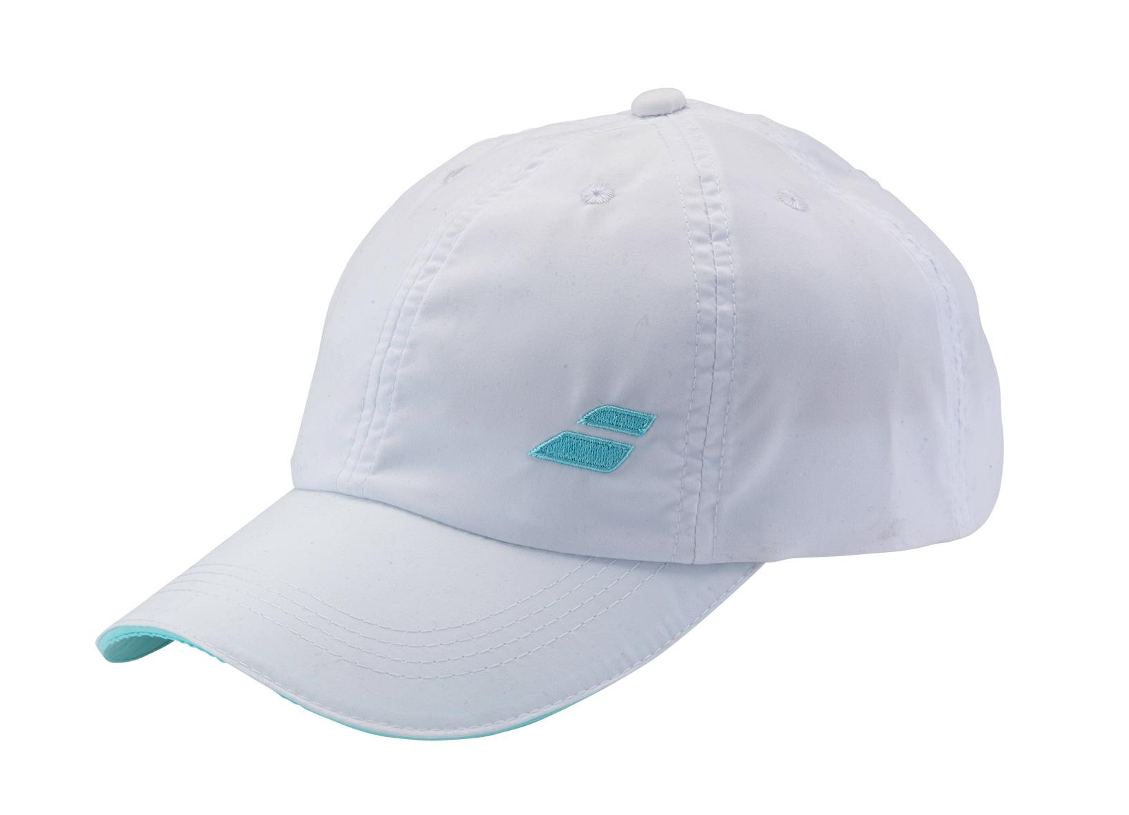 Babolat Cap Basic 2016 bílá/tyrkys - prodyšná čepice na tenis